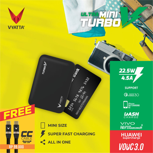 Foto Produk VYATTA MINI TURBO V VOOC 3.0 POWERBANK 22.5W - Huawei FCP, Vivo, QC3.0 - FREE CC Cable dari VYATTA INDONESIA