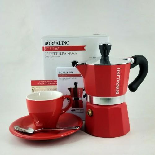 Foto Produk Borsalino Cottura Moka Pot for 3 Cups + Cangkir Espresso + Sendok Kopi dari Kopi Jayakarta