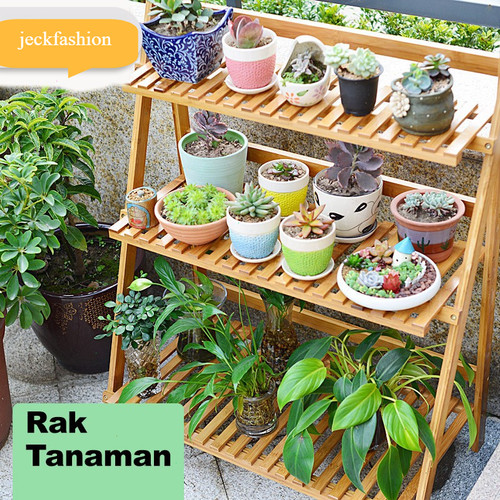Foto Produk Rak Penyimpanan Rak Tanaman Hias Standing Pot 3 tingkat pajangan Kayu dari jeckfashion
