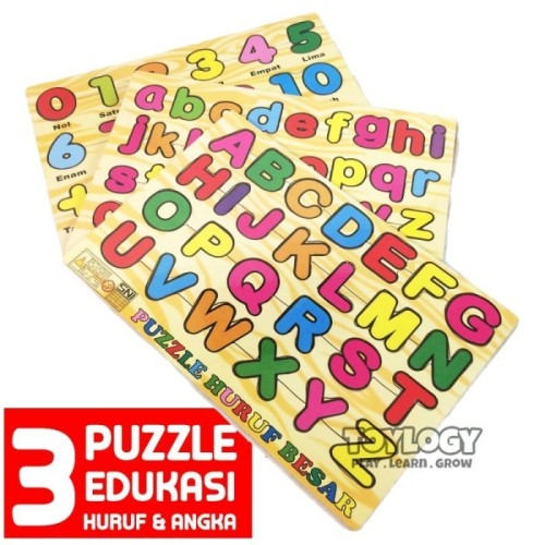 Foto Produk Paket Mainan Edukasi Anak Puzzle Kayu Abjad Huruf Angka Number ABC 123 dari Toylogy