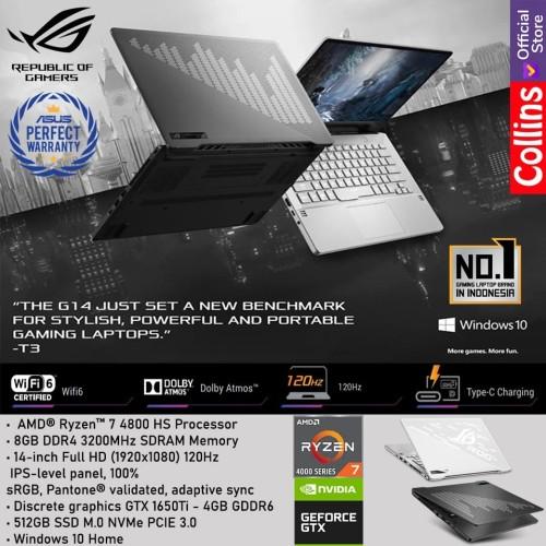 Foto Produk ASUS ROG ZEPHYRUS G14 GA401II R7-4800HS 8GB 512GB GTX1650Ti 4GB 120Hz dari Collins Official