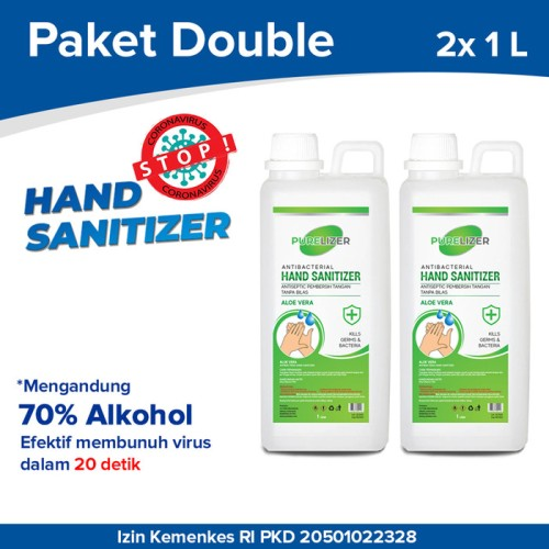 Foto Produk Hand Sanitizer Cair 2 Liter PURELIZER Refill Handsanitizer 1L x2 pcs dari Purelizer