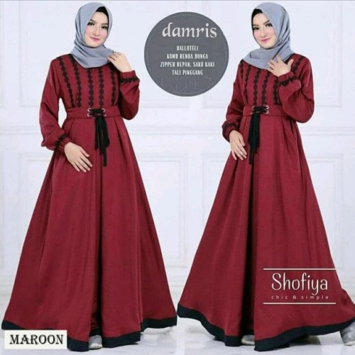 Foto Produk Baju Gamis Wanita/Cewek Muslim Remaja Dewasa Kekinian Murah Terbaru - maroon dari damris shop