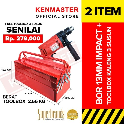 Foto Produk Kenmaster Bor Impact 13MM8811 Profesional FREE Tool Box Besi CLEARANCE dari Kenmaster Official