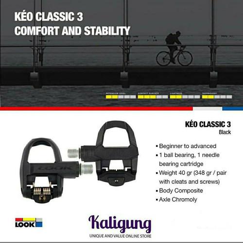 Foto Produk Pedal clipless Road LOOK KEO CLASSIC 3 Black - Include Cleat - Black full dari Kaligung