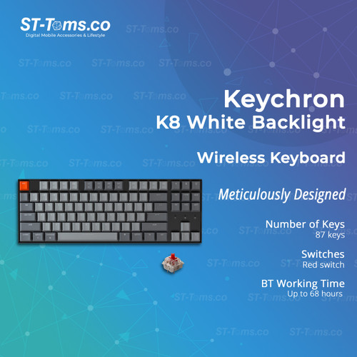 Foto Produk Keychron K8 Wireless Keyboard Swappable White Backlight - G1 Red Switch dari ST-Toms.co
