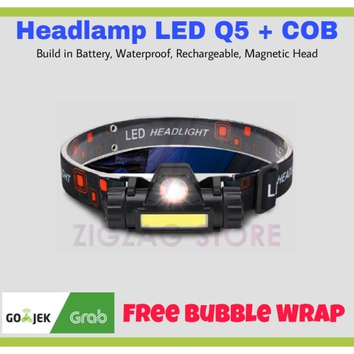 Foto Produk Senter Kepala Headlamp Waterproof Rechargeable Outdoor Q5 COB dari ZigZag-Store