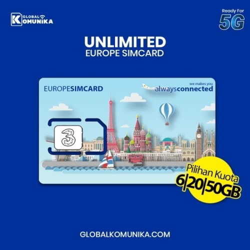 Foto Produk Sim Card Eropa 30 Hari 12 GB | Europe Simcard Include. Swiss - 6GB dari Global Komunika JKT