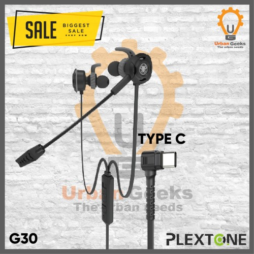 Foto Produk Plextone G30 type C with Mic Stereo Bass Gaming Hammerhead Earphone - Hitam dari Urban Geeks