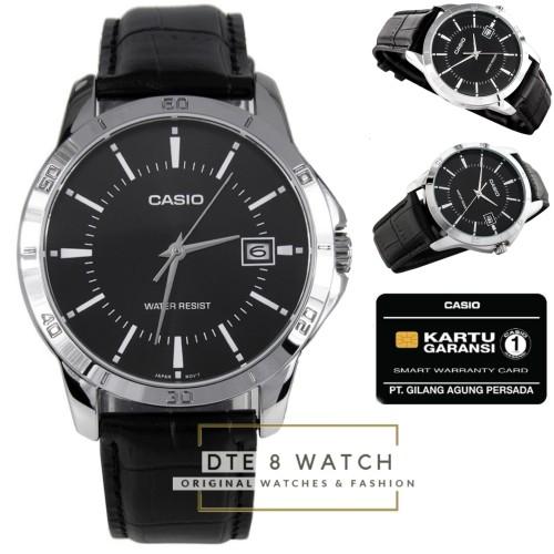 Foto Produk Jam Pria Casio ORIGINAL V004 Leather Just Date 1 Year Guaranted - Hitam dari DTE 8 Watch