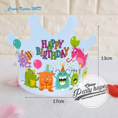 Foto Produk Topi ulang tahun anak / topi happy birthday bentuk mahkota motif B dari PARTY HOPE 2