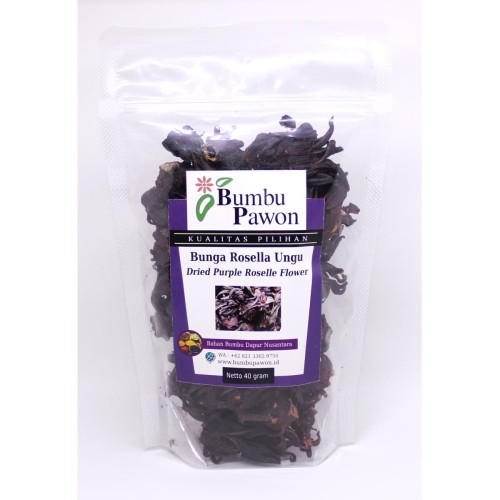 Foto Produk BP024A Bunga Rosella Ungu , Dried Purple Roselle Flower 40 gram dari Bumbu Pawon.Id