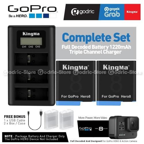 Foto Produk 100% COMPATIBLE KingMa Paket Complete Baterai Charger Set GoPro Hero 8 dari G-Rex