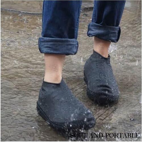 Foto Produk Sarung Sepatu Karet Anti Air Waterproof Rain Shoe Cover Size 36-40 - Hitam dari Zakka Store