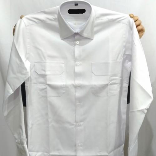 Foto Produk Kemeja Pria Darren Formal Panjang Reguler Benang Tiga Kantong Dua - Putih, XL dari Mega Hero Shirts
