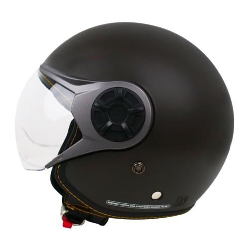 Foto Produk Cargloss YRM Micrometric Buckle Helm Half Face - Espresso Brown Doff - M dari Helm Cargloss
