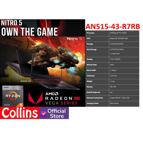 Foto Produk ACER NITRO 5 AN515-R1BL - RYZEN 5-3550H 8GB SSD 512GB RX 560X 4GB W10 dari Collins Official