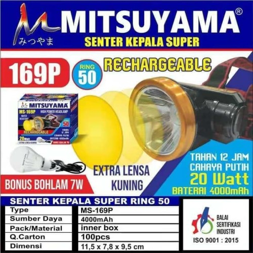 Foto Produk headlamp senter kepala mitsuyama ms-169p dari grosirltc