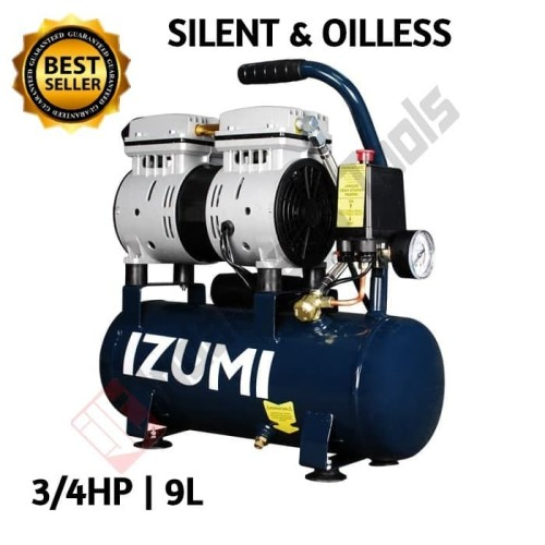 Foto Produk IZUMI 9 L Kompresor Angin SILENT 3/4 HP 9 Liter Oilless Oiless lakoni dari Indah Jaya Tools
