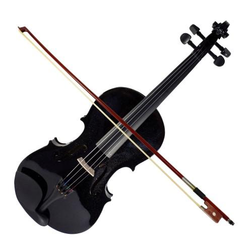 Foto Produk Biola Violin Solid Wood Ukuran 3/4 Lespoir HITAM Hardcase Bow Rosin dari BRANDOS