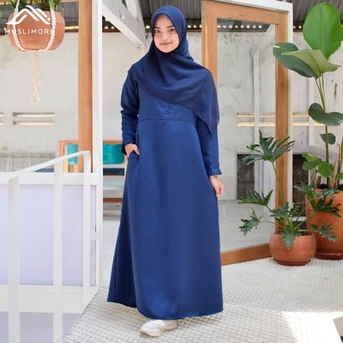 Foto Produk Muslimore Baju Muslim Wanita Gamis Murah Navy Polos Balotelli XGBPN01 - , XL dari muslimore