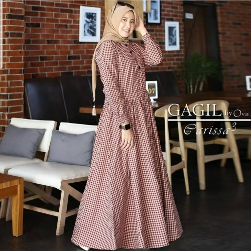 Foto Produk Baju Gamis Syari Wanita Terbaru Parissa Maxi Dress Katun Kotak Murah dari dans shop bdg