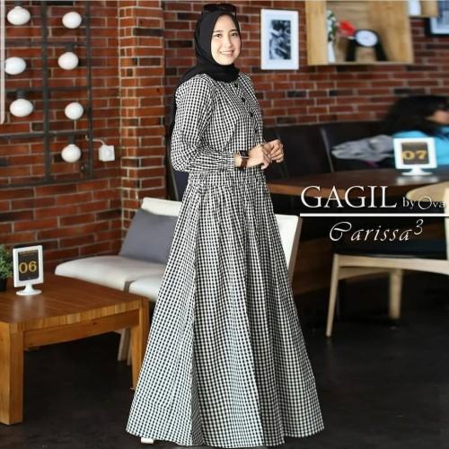 Foto Produk Baju Gamis Syari Wanita Terbaru Parissa Maxy Dress Katun Kotak Murah - Moca dari hijabafwa