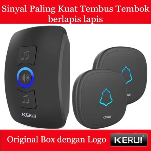 Foto Produk KERUI Wireless Doorbell Waterproof Door Bell Pintu rumah 2 Transmiter - Hitam dari Asyam Weiseman