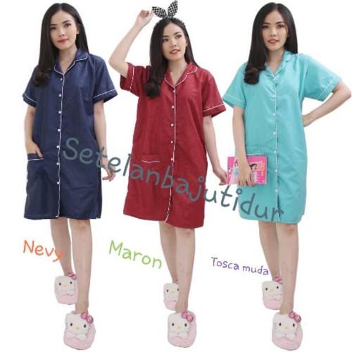 Foto Produk daster-piyama panjamas wanita dewasa motif satin embos(ukir) fit to xl - marun, XL dari LADYCOLLECTIONN