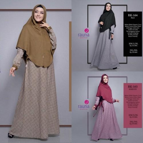 Foto Produk Gamis + Jilbab Syari Rauna RK 163 RK 164 Rk 165 dari Raja Diskon Muslimah