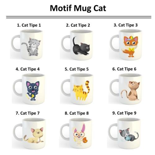 Foto Produk Mug Gelas Sablon Kucing Cat Custom Logo Gambar Souvenir Hadiah Hampers - hanya mug dari Epinidit house