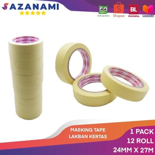 """Foto Produk Lakban Kertas Masking Tape 1"""" 24mm x 27m Sazanami Tape isolasi kertas dari Sazanami Tape"""