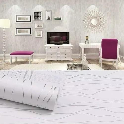 Foto Produk Wallpaper stiker dinding motif garis silver dasar putih dari wallpaper_sip