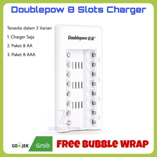 Foto Produk Doublepow Baterai Charger 8 Slots / Paket Baterai Cas 8 AA / 8 AAA - Charger Saja dari ZigZag-Store