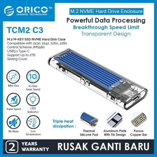 Foto Produk ORICO M2 NVMe M.2 SSD Enclosure (10Gbps) - TCM2-C3 - Silver dari ORICO INDONESIA