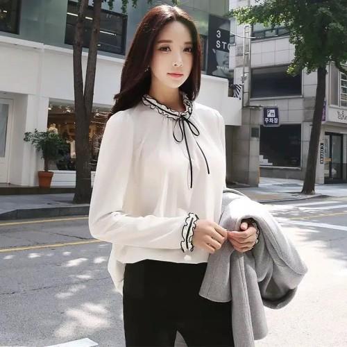 Foto Produk baju atasan blouse wanita lengan panjang variasi pita style korea - Hitam, M dari G JFSH