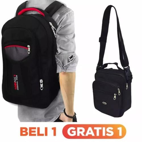 Foto Produk tas ransel polo jumbo tas pria beli satu gratis satu tas selempang - Hitam dari aisyah fashion bandung