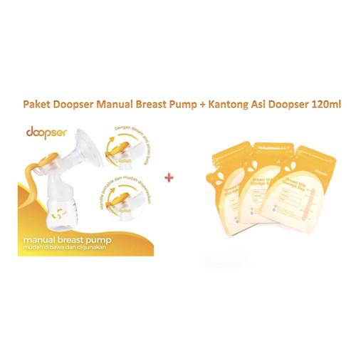Foto Produk PD01 Paket DOOPSER Manual Breast Pump Pompa Asi + kantong asi Doopser dari bobo baby shop