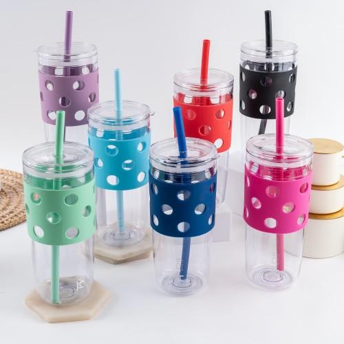 Foto Produk UCHII Mizutama Portable Tumbler Silicone Straw Reusable Gelas Botol 1L - Ungu dari uchii store