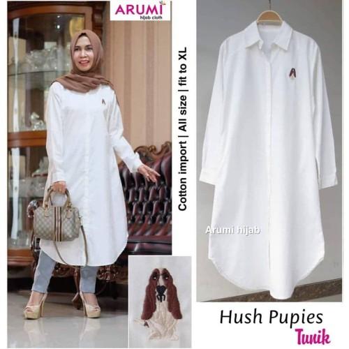 Foto Produk Hush Pupies Tunik kemeja putih tunik busui baju atasan wanita - Putih, XL dari Bie Gallery Olshop