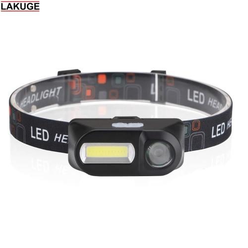Foto Produk Paket Senter Kepala Headlamp LED 3 Modes COB USB Charge dari Lakuge