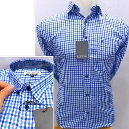 Foto Produk Kemeja Pria Rita Ricci Panjang Slimfit Kotak Casual Button Down - Biru, M dari Mega Hero Shirts