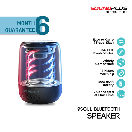 Foto Produk Soundplus 9Soul - Speaker Bluetooth Led 5W / Portable Speaker - Hitam dari SOUNDPLUS OFFICIAL STORE
