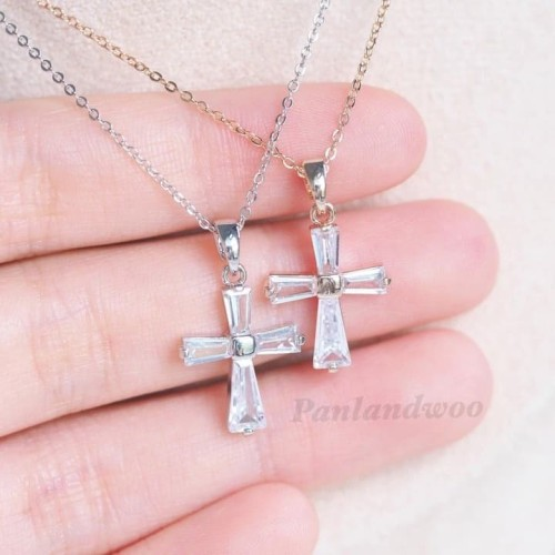 Foto Produk Kalung Panlandwoo Fashion Korea Untuk Wanita - Crystal Cross(Salib) dari Panlandwoo