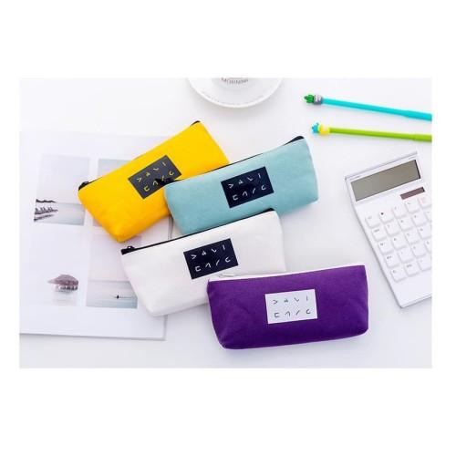 Foto Produk TP0076 Tempat Pensil Japanese Solid Color / Tempat Kosmetik Pouch - Ungu dari EnnWen Online Store