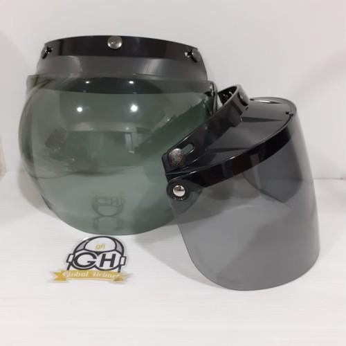 Foto Produk KACA BOGO MURAH CEMBUNG DAN FLAT KACA HELM RETRO MURAH - CEMBUNG SMOKE dari Global helmet