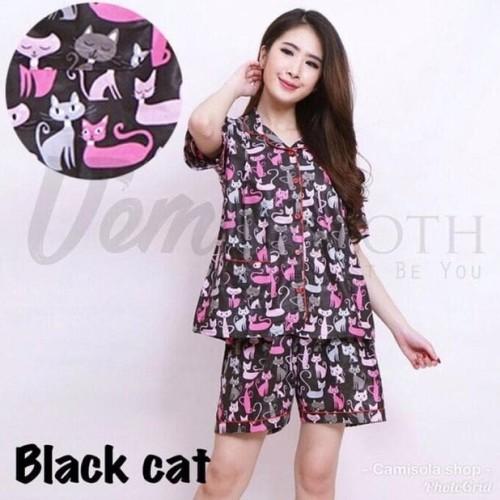 Foto Produk Baju Tidur Piyama Wanita/Cewek Pajamas Dewasa Hp Black Cat dari Chel'z Shop