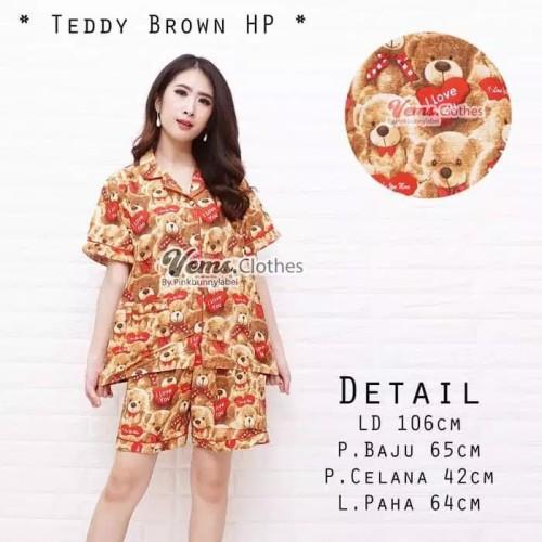 Foto Produk Baju Tidur Piyama Wanita/Cewek Pajamas Dewasa Katun Hp Teddy Love dari Chel'z Shop