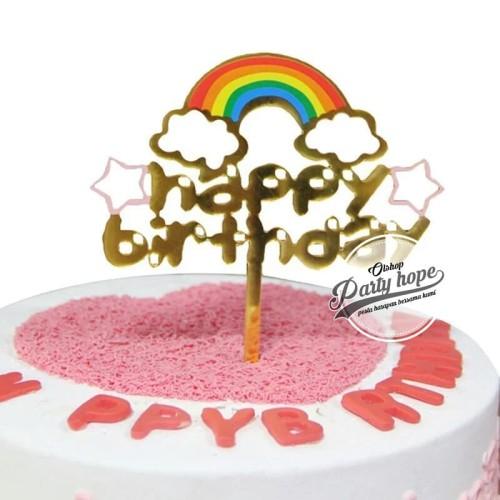 Foto Produk Cake topper happy birthday / tusukan hiasan kue hbd awan pelangi dari PARTY HOPE 2