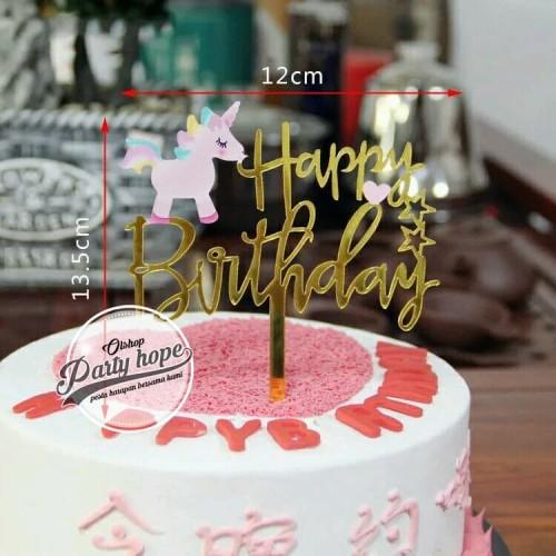 Foto Produk Cake topper happy birthday / tusukan hiasan kue hbd badan unicorn pink dari PARTY HOPE 2